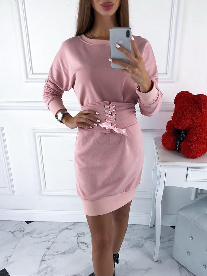 Ružové šaty s opaskom-220082-39
