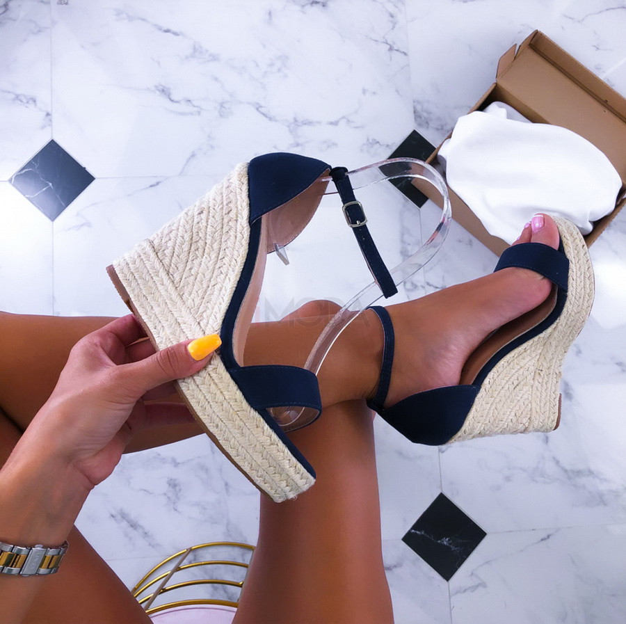 Tmavomodré sandále na platforme-211495-32