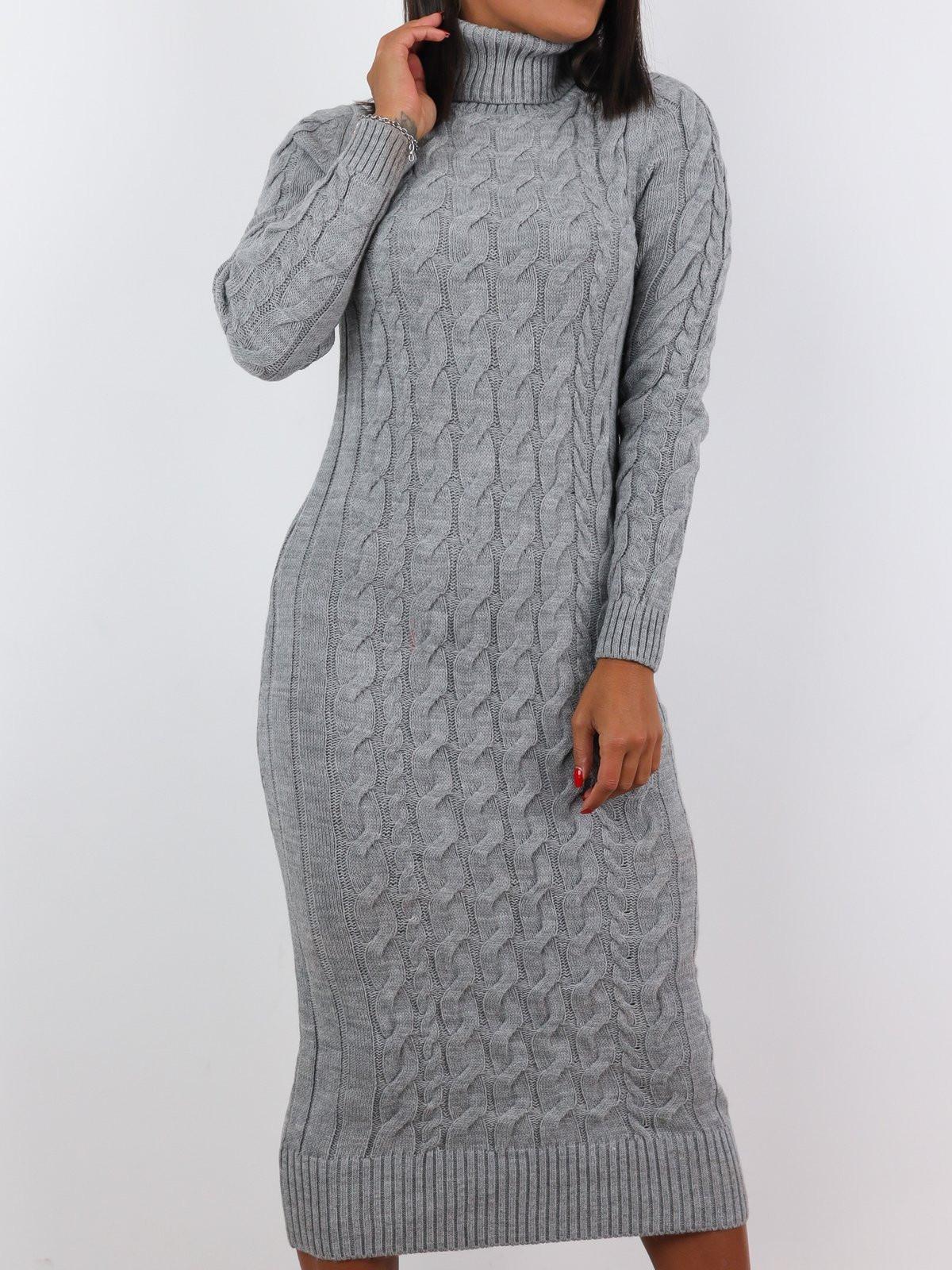 Sivé dlhé pletené šaty-225485-34