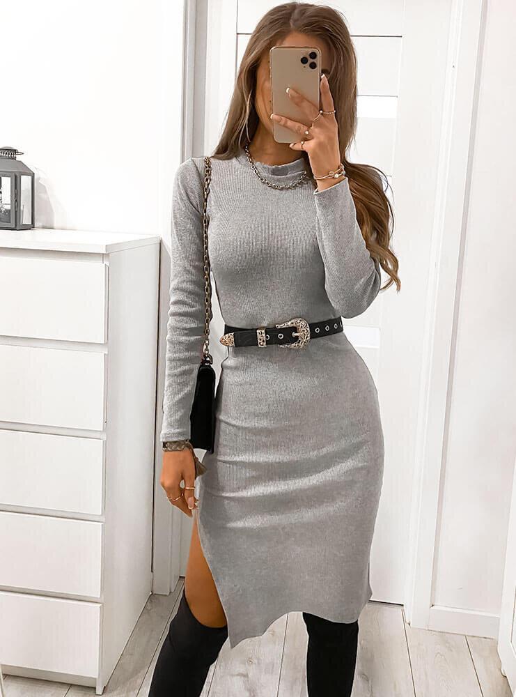 Sivé bavlnené šaty s rozparkom-226777-32