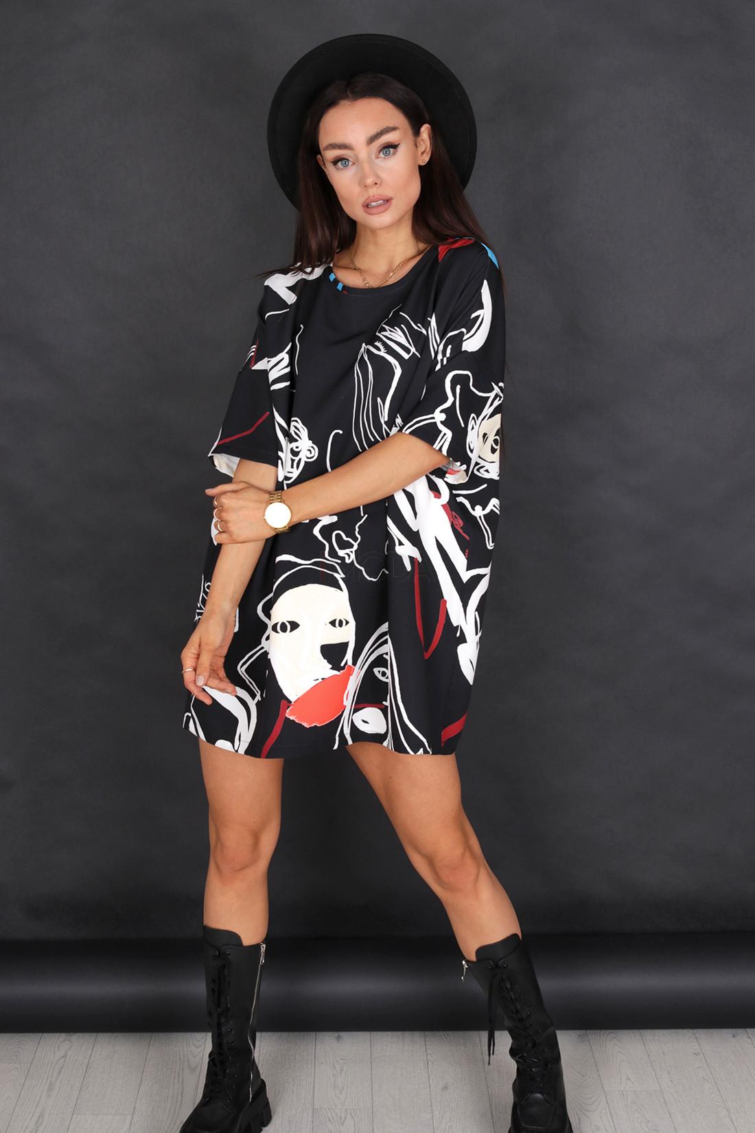 Čierne oversize tričko-236575-32