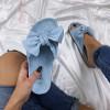 Modré korkové semišové šľapky