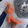 Neónové oranžové  lodičky s hrubým opätkom