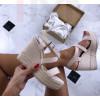 Dámske béžové sandálky na platforme