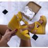 Dámske žlté sandálky na platforme