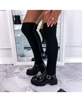 Čierne lakované  vysoké  čižmy
