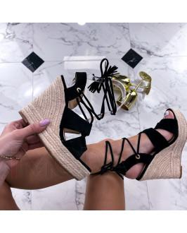 Čierne semišové sandále