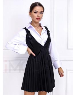 Čierna koženková sukňa