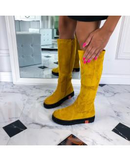 Žlté semišové vysoké čižmy