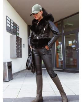 Čierna koženková vesta s kapucňou