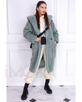 Zelený teddy kabát s kapucňou