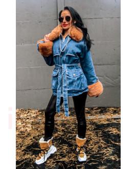 Modrá zateplená  rifľová bunda s kožušinou