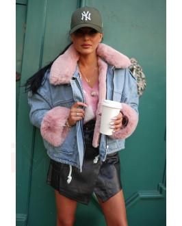 Modrá zateplená rifľová bunda s ružovou kožušinou