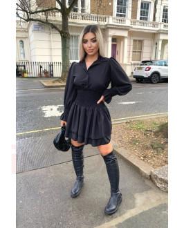 Čierne volánikové šaty