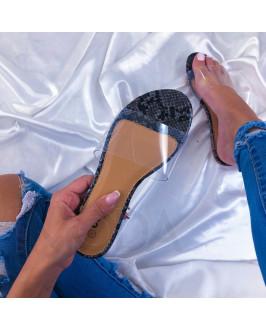 Čierne dámske šľapky s hadím vzorom