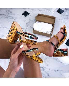 Žlté viacfarebné  sandálky