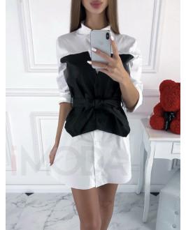 Bielo-čierne kombinované šaty