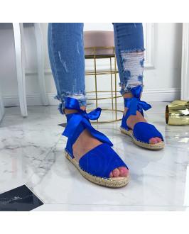 Modré letné sandálky na viazanie