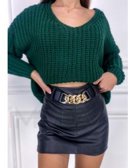 Čierna koženková kraťasová  sukňa