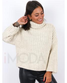 Béžový  pletený rolákový  sveter