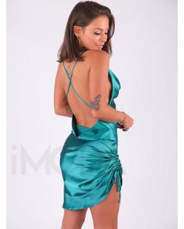 Smaragdovo-zelené saténové šaty