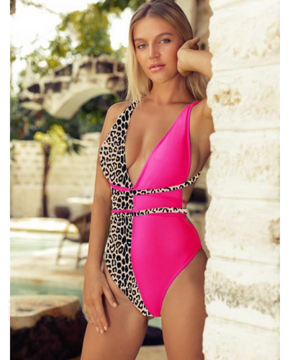 Dámske cyklamenovo leopardie jednodielne plavky-204400-20