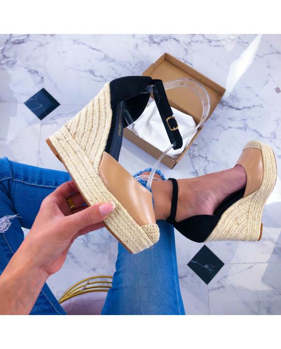 Béžovo-čierne sandálky na platforme-209820-20