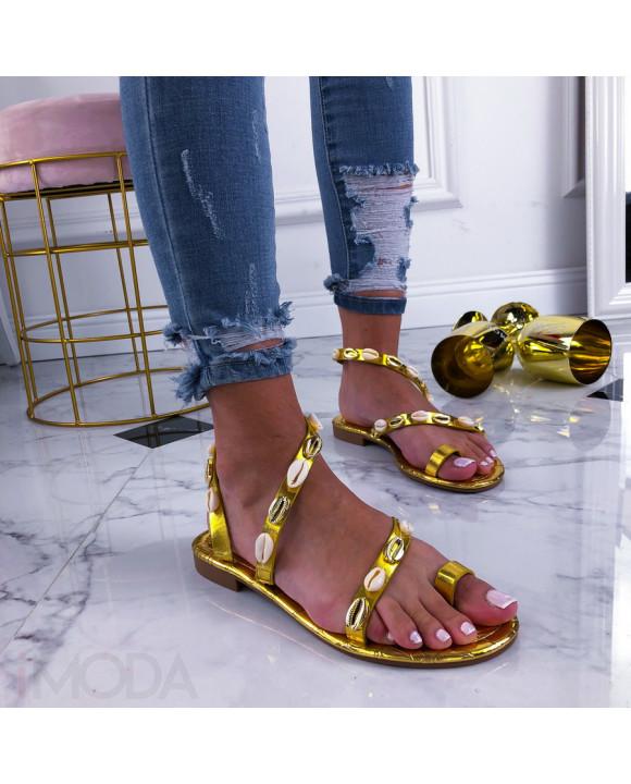 Zlaté sandálky zdobené mušličkami-210399-20