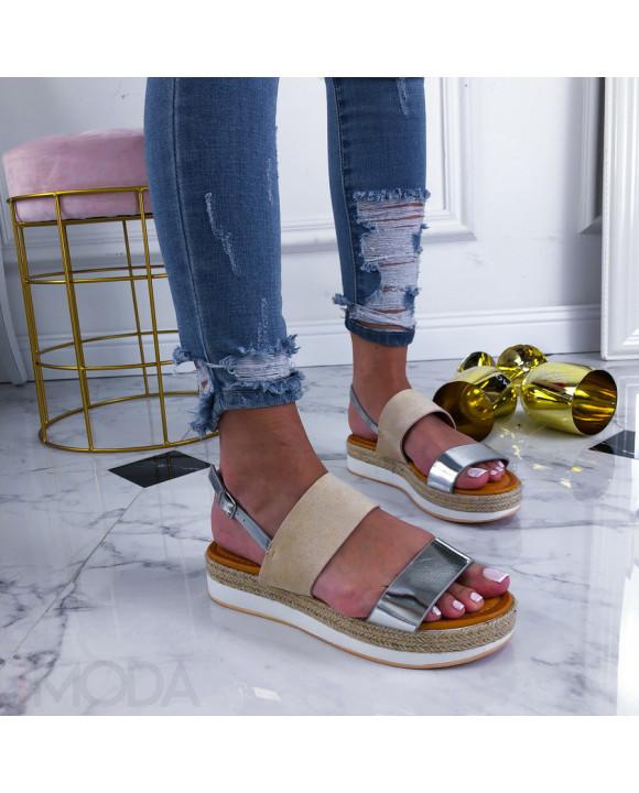 Béžovo-strieborné sandálky na platforme-210349-20