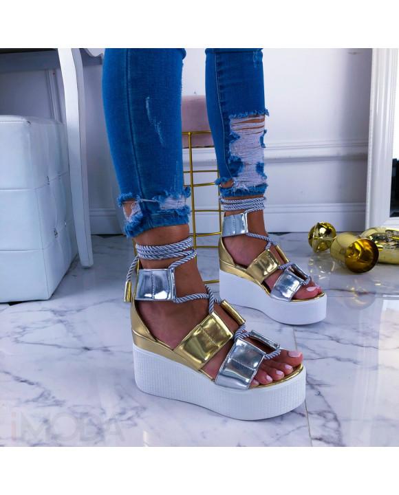 Zlaté sandále na platforme-211084-20