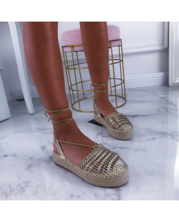 Zlaté sandálky na platforme-211429-20