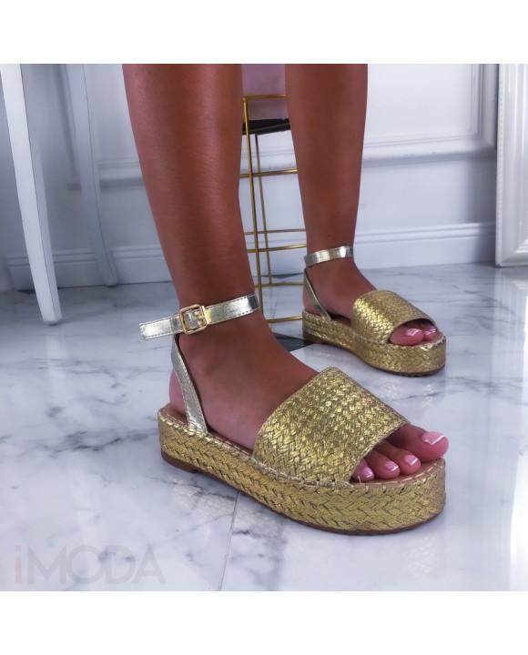 Zlaté dámske sandálky-211450-20