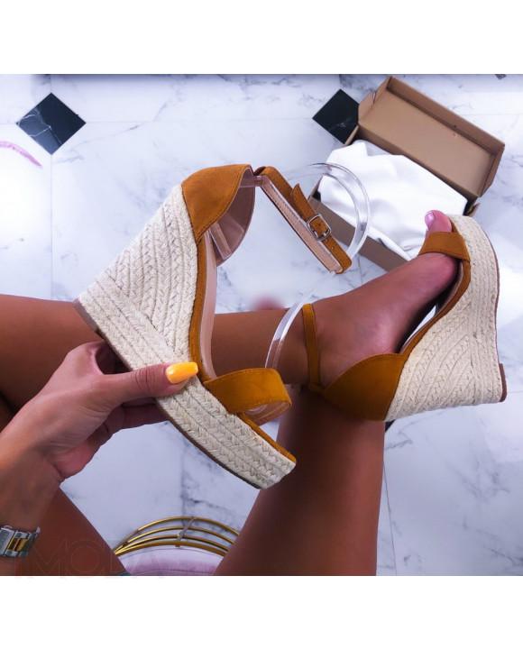 Camelové sandále na platforme-211502-20