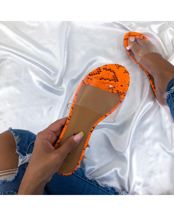 Oranžové šľapky s hadím vzorom-213370-20