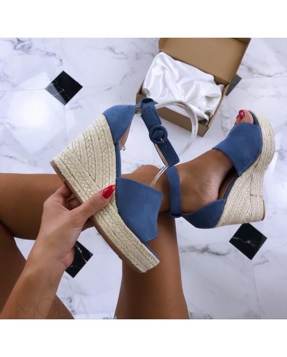 Modré dámske sandále na platforme-185920-20
