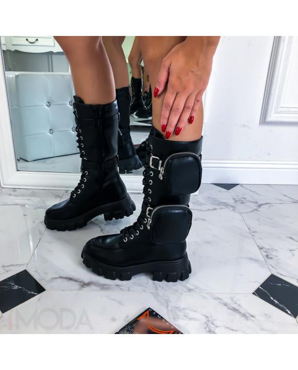 Čierne trendy čižmičky-219561-20