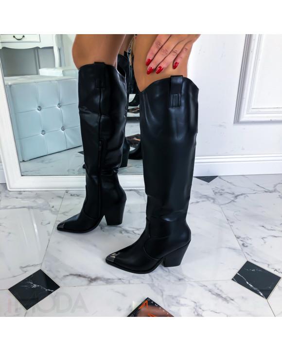 Čierne čižmy s ozdobnou špičkou-219522-20