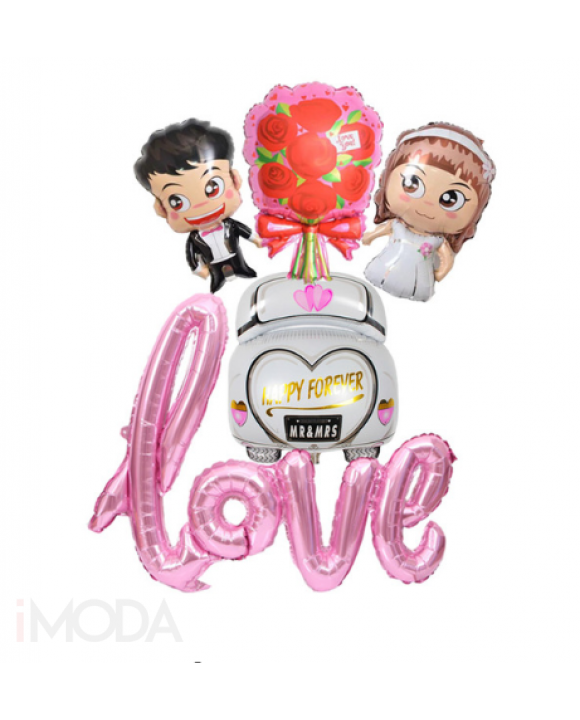 Set mladomanželia + ružový balón LOVE-161025-20