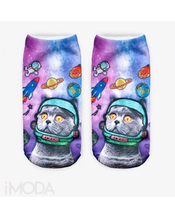 Modré 3D ponožky mačka vo vesmíre