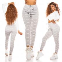 Sivé vzorované teplákové nohavice-229653-013