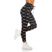 Čierne vzorované teplákové nohavice-229615-01