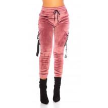Ružové zateplené zamatové tepláky-229638-04