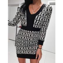 Bielo čierne vzorované šaty-224256-02