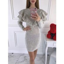 Béžové dámske pletené šaty-196153-05