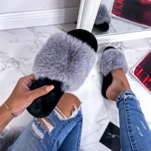 Sivé kožušinové šľapky-255761-013