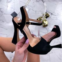 Čierne semišové sandále-236546-02