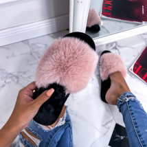 Ružové kožušinové šľapky-255752-09