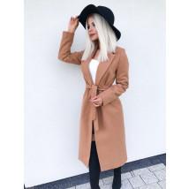 Dámsky hnedý predlžený kabát na viazanie-196925-04