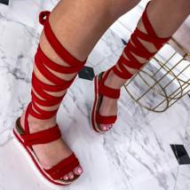 Červené šnurovacie sandále na platforme-240393-09