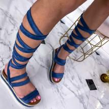 Modré šnurovacie sandále na platforme-240386-06